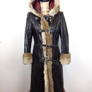Vintage Leather & Fur Winter Coat